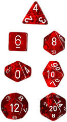 Chessex Dice - Translucent Red with White - Set of 7 (CHX 23004) Chessex | Cardboard Memories Inc.