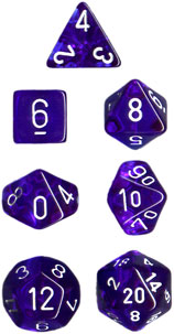 Chessex Dice - Translucent Blue with White - Set of 7 (CHX 23006) Chessex | Cardboard Memories Inc.