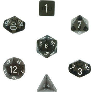 Chessex Dice - Translucent Smoke with White - Set of 7 (CHX 23008) Chessex | Cardboard Memories Inc.