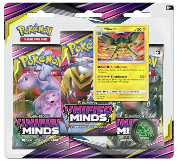 Pokemon Sun & Moon - Unified Minds 3-Pack Blister - Vikavolt (Pre-Order August 2nd, 2019)