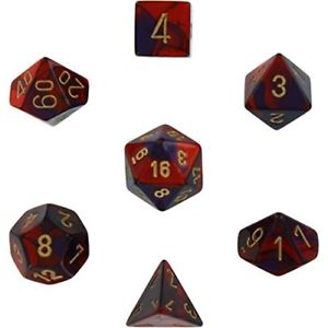 Chessex Dice - Gemini Purple-Red with Gold - Set of 7 (CHX 26426) Chessex | Cardboard Memories Inc.