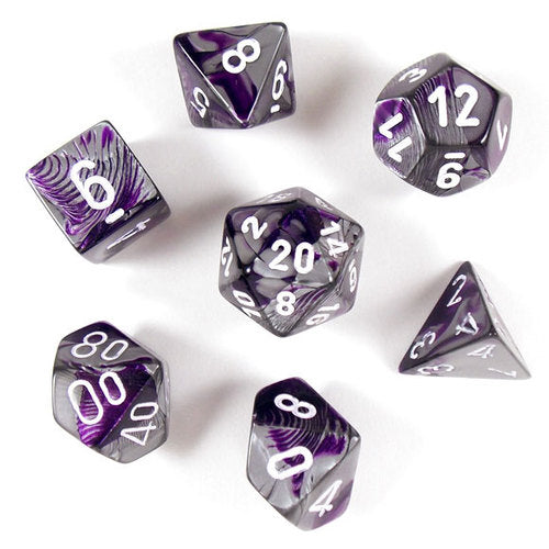 Chessex Dice - Gemini Purple-Steel with White - Set of 7 - CHX 26432