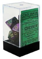 Chessex Dice - Gemini Green-Purple with Gold - Set of 7 Chessex | Cardboard Memories Inc.