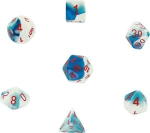 Chessex Dice - Gemini Astral Blue-White with Red - Set of 7 (CHX 26457) Chessex | Cardboard Memories Inc.