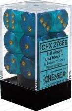 Chessex Dice - Borealis Teal with Gold - Set of 12 D6 (CHX 27686) Chessex | Cardboard Memories Inc.
