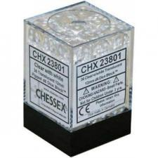 Chessex Dice - Translucent Clear with White - Set of 36 D6 (CHX 23801) Chessex | Cardboard Memories Inc.