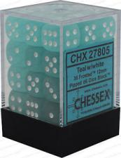 Chessex Dice - Frosted Teal with White - Set of 36 D6 (CHX 27805) Chessex | Cardboard Memories Inc.