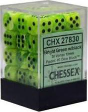 Chessex Dice - Vortex Bright Green with Black - Set of 36 D6 (CHX 27830) Chessex | Cardboard Memories Inc.