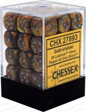 Chessex Dice - Lustrous Gold with Silver - Set of 36 D6 (CHX 27893) Chessex | Cardboard Memories Inc.