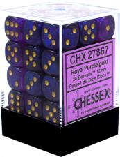 Chessex Dice - Borealis Royal Purple with Gold - Set of 36 D6 (CHX 27867) Chessex | Cardboard Memories Inc.