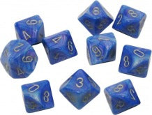 Chessex Dice - Velvet Bright Blue with Silver - Set of 10 D10 (CHX 27279) Chessex | Cardboard Memories Inc.