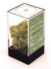 Chessex Dice - Marble Green with Dark Green - Set of 7 (CHX 27409) Chessex | Cardboard Memories Inc.