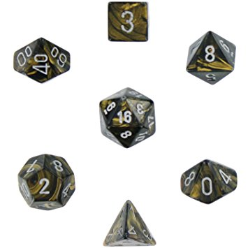 Chessex Dice - Leaf Black Gold With Silver - Set of 7 (CHX 27418) Chessex | Cardboard Memories Inc.