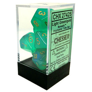 Chessex Dice - Borealis Light Green with Gold - Set of 7 (CHX 27425) Chessex | Cardboard Memories Inc.