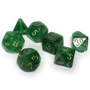 Chessex Dice - Vortex Green with Gold - Set of 7 (CHX 27435) Chessex | Cardboard Memories Inc.