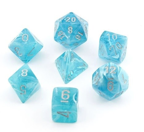 Chessex Dice - Cirrus Aqua with Silver - Set of 7 Chessex | Cardboard Memories Inc.