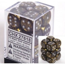 Chessex Dice - Leaf Black Gold with Silver - Set of 12 D6 (CHX 27618) Chessex | Cardboard Memories Inc.