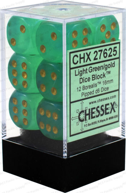 Chessex Dice - Borealis Light Green with Gold - Set of 12 D6 (CHX 27625) Chessex | Cardboard Memories Inc.
