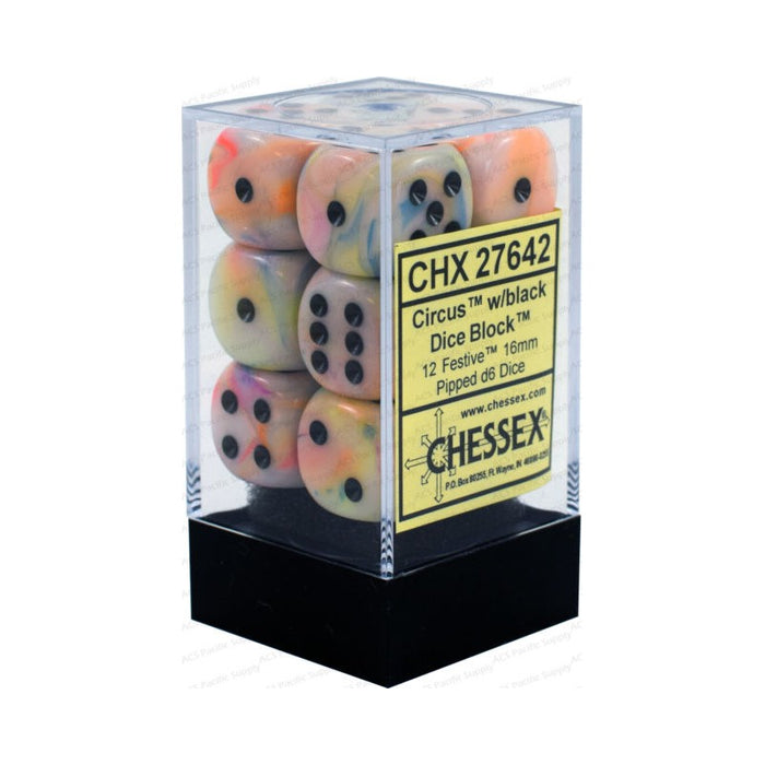 Chessex Dice - Festive Circus with Black - Set of 12 D6 (CHX 27642) Chessex | Cardboard Memories Inc.