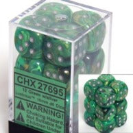 Chessex Dice - Lustrous Green with Silver - Set of 12 D6 (CHX 27695) Chessex | Cardboard Memories Inc.