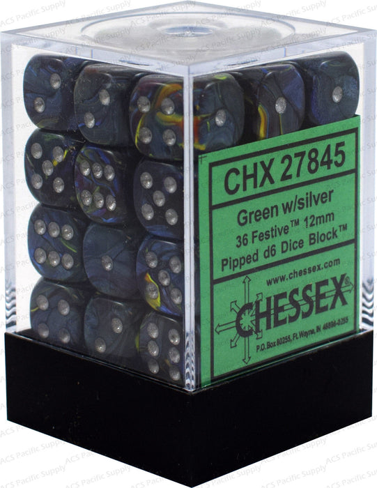 Chessex Dice - Festive Green with Silver - Set of 36 D6 (CHX 27845) Chessex | Cardboard Memories Inc.