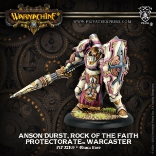 Warmachine - Protectorate of Menoth -  Anson Durst, Rock of the Faith Paladin Warcaster PIP 32103