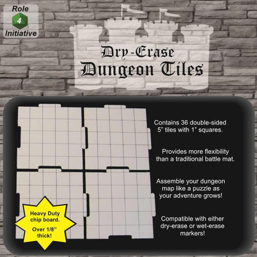 Dry-Erase Dungeon Tiles - 36 5-Inch Tiles Role 4 Initiative | Cardboard Memories Inc.