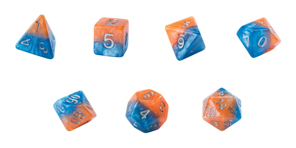 Halfsies Dice - Flame & Frost (Fire & Dice) - Set of 7 Gate Keeper Games | Cardboard Memories Inc.