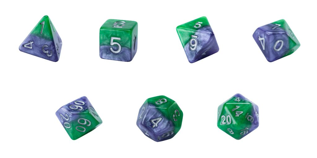 Halfsies Dice - Puzzling Purple & Grin Green (Joker) - Set of 7 Gate Keeper Games | Cardboard Memories Inc.