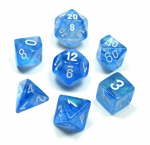Chessex Dice - Borealis Sky Blue with White - Set of 7 (CHX 27426) Chessex | Cardboard Memories Inc.