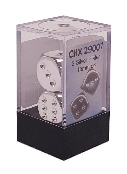 Chessex Dice - Silver Plated - Set of 2 D6 (CHX 29007) Chessex | Cardboard Memories Inc.