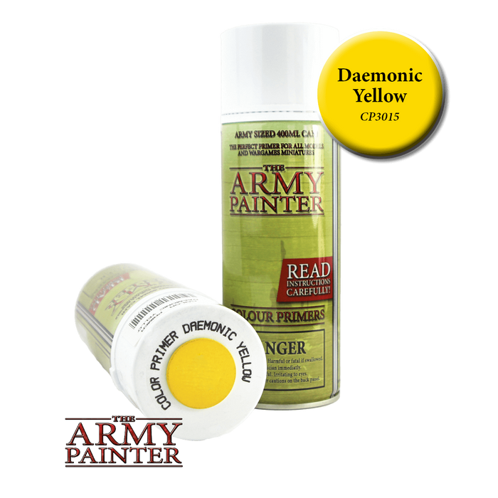 Army Painter - Colour Primer Daemonic Yellow The Army Painter | Cardboard Memories Inc.