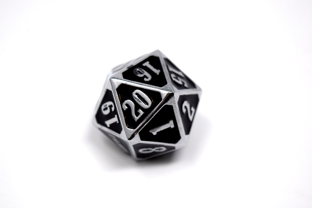 Die Hard Dice - Metal MTG Roll Down Counter Shiny Silver with Black - D20