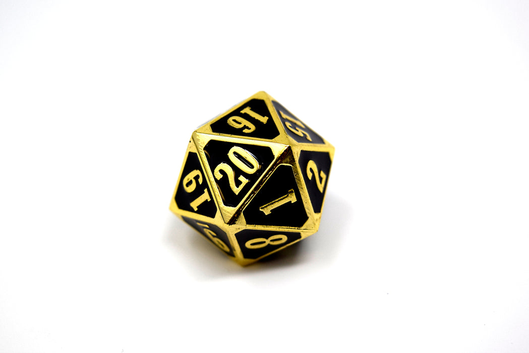 Die Hard Dice - Metal MTG Roll Down Counter Shiny Gold w/Black - D20