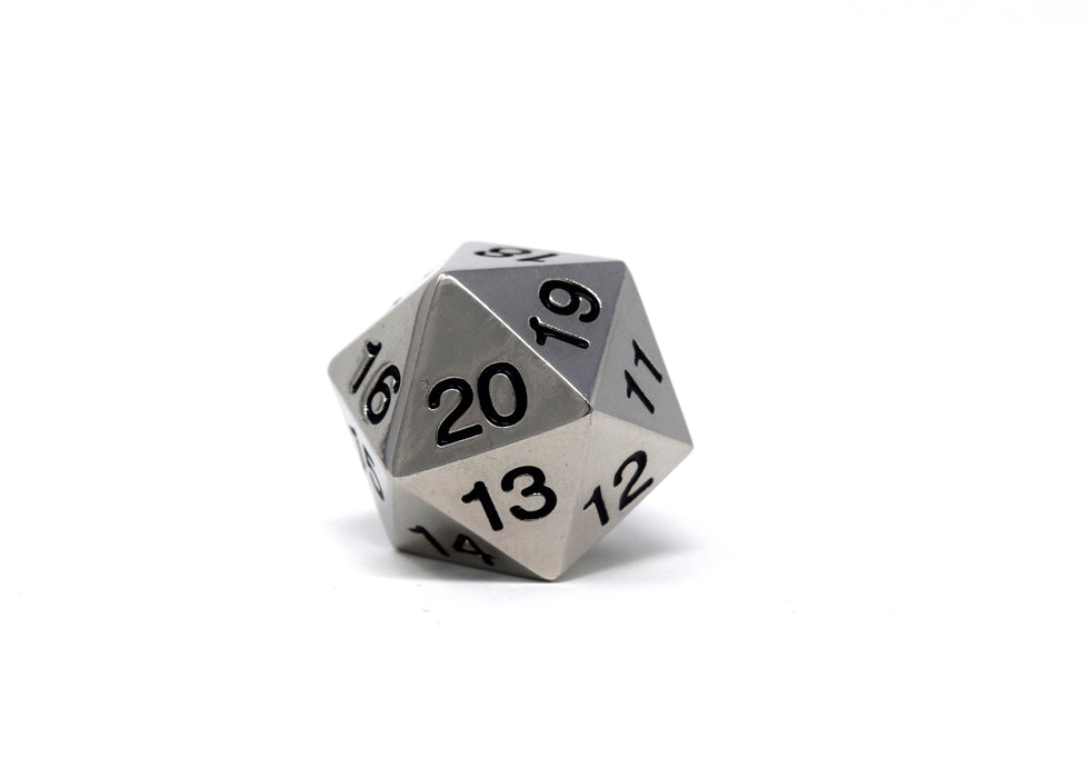 Koplow Dice - Silver with Black Metal Dice - Countdown D20 with Bag