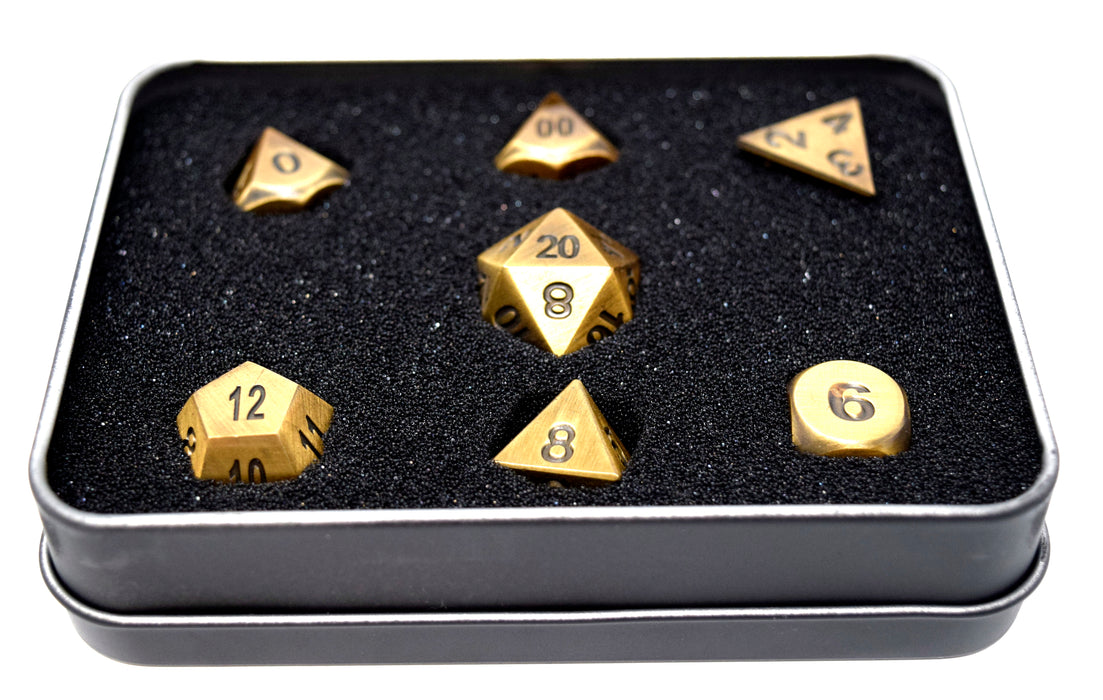 Die Hard Dice - RPG Metal Battleworn Gold with Black - Set of 7