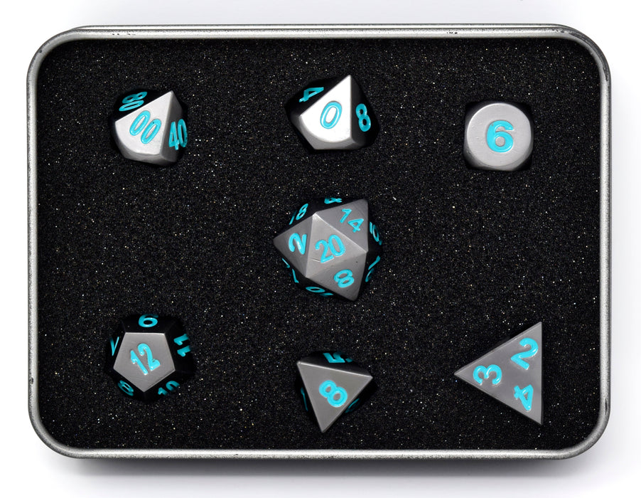 Die Hard Dice - RPG Metal Gunmetal with Teal - Set of 7