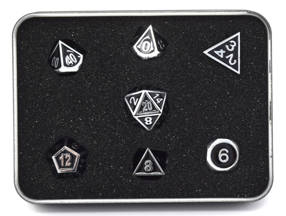 Die Hard Dice - Gothica Metal Shiny Silver with Black - Set of 7