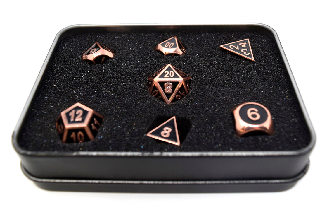 Die Hard Dice - RPG Gothica Metal Shiny Copper with Black - Set of 7