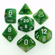 Chessex Dice - Phantom Green with White - Set of 7 (CHX 27485) Chessex | Cardboard Memories Inc.