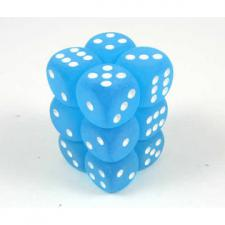 Chessex Dice - Frosted Carribean Blue with White - Set of 12 D6 (CHX 27616) Chessex | Cardboard Memories Inc.
