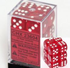 Chessex Dice - Translucent Red with White - Set of 12 D6 (CHX 23604) Chessex | Cardboard Memories Inc.