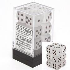 Chessex Dice - Frosted Clear with Black - Set of 12 D6 (CHX 27601) Chessex | Cardboard Memories Inc.