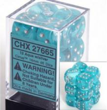 Chessex Dice - Cirrus Aqua with Silver - Set of 12 D6 (CHX 27665) Chessex | Cardboard Memories Inc.