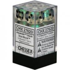 Chessex Dice - Borealis Aquerple with Black - Set of 12 D6 (CHX 27620) Chessex | Cardboard Memories Inc.