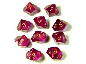 Chessex Dice - Borealis Magenta with Gold - Set of Ten D10 (CHX 27224) Chessex | Cardboard Memories Inc.