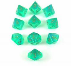Chessex Dice - Borealis Light Green with Gold - Set of Ten D10 (CHX 27225) Chessex | Cardboard Memories Inc.