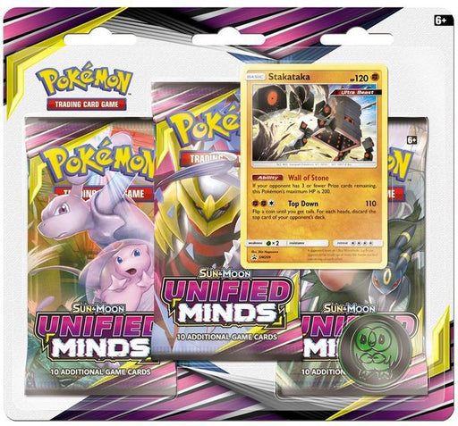 Pokemon Sun & Moon - Unified Minds 3-Pack Blister - Stakataka (Pre-Order August 2nd, 2019)