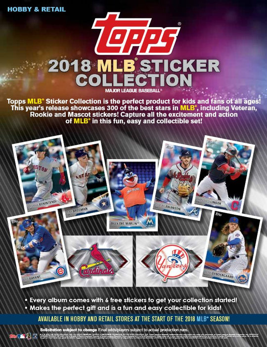 2018 Topps MLB Sticker Collection Album Topps | Cardboard Memories Inc.