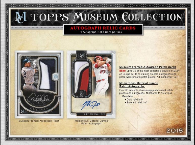 Topps 2018 Museum Collection Baseball Hobby Box (Pre-Order)  June 20th 2018 Topps | Cardboard Memories Inc.